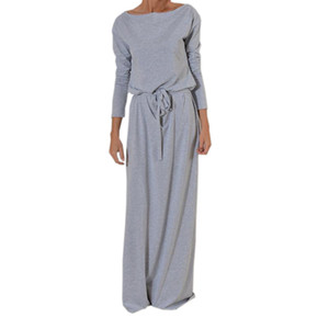 Autumn Women Long Maxi Dress Slash Neck Sashes Winter Dresses Casual Long Sleeve Solid Dress Casual Plus Size Gv028 GMX190708