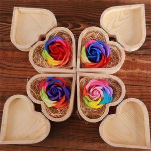 القلب خشبي على شكل صندوق الصابون زهرة عيد الحب هدية الإبداعية محاكاة سبعة ألوان الورود صناديق الخشب حالة 9ky H1