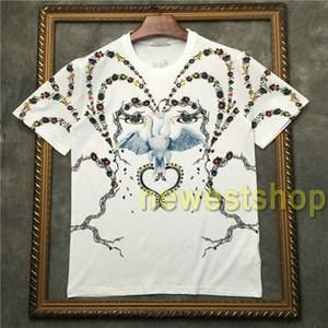 2020 novos homens designer de roupas de moda olhos cisne flores animal print camiseta de algodão camiseta clássica camisa das mulheres Designer pássaros t encabeça tee