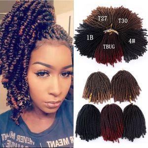 8 Zoll (Falten) Kinky Curly Frühling Twist Crochet Geflechte Bomb Leidenschaft Twists Synthetic flicht Haar-Verlängerungen Jamaika Bounce Blonde Ombre Haar
