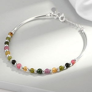 Charm Bracelets River Real S925 Sterling Silver Women Bracelet Colorful Stone Beads Bangles Female Fashion Jewelry Gifts