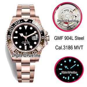 GMF 904L Çelik Cal.3186 Otomatik Erkek İzle GMT Siyah Kahverengi Seramik Bezel M126715chnr-0001 Siyah Dial 18K Rose Gold İyi Sürümü Puretime