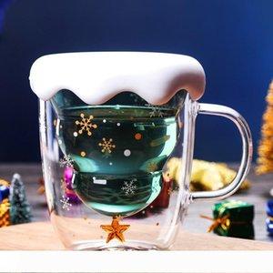 A 300ml Creative Christmas Tree Star Cup Transparent Double verre tasse de café au lait jus Cup Cadeaux de Noël pour les enfants flocon de neige M
