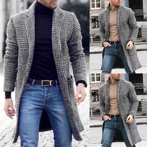 Moda Erkekler Yün Coat Kış Sıcak Trençkot Dış Giyim Palto Uzun Ceket sıcak