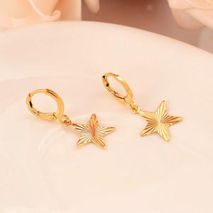24 k Sarı Katı İnce Altın GF Beş köşeli yıldız Küpe Kadınlar / Kız, Afrika / Arap / Ortadoğu hediye Aşk Trendy Mücevher