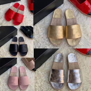 carta diseñador zapatilla de lujo piel de becerro mulas diseñador de las mujeres de la sandalia de la sandalia diapositivas de cristal gigante remache plano de las chancletas