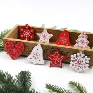 12PCS Lot DIY White&Red Christmas Tree Heart Star Wooden Pendants Ornaments For Home Xmas Tree Ornaments Kids Gifts Decorations