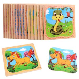 16 animal cartoon wooden puzzles, early childhood education, children's toys, intellectual development, exercise ability