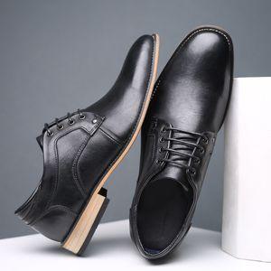 REETENE зашнуровать платье обувь коричневый мужской базовый обувной моды подлинная корова кожа мужчины лодыжки кожаные сапоги Мужская обувь мужские ботинки