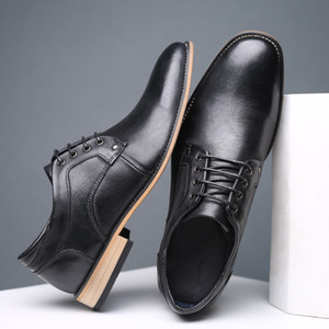 Robe REETENE Derbies hommes bruns chaussure de base Mode Véritable cuir de vache Hommes Bottines en cuir pour homme Chaussures Hommes Chaussures