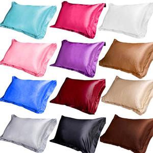 Urijk Liscio Emulazione Ghiaccio Biancheria da letto Federa Tinta unita Simulazione Seta Singola Federa Morbida Raso Multicolor 48x74cm