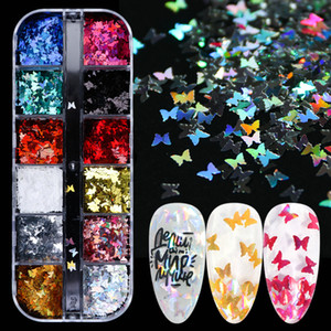 Colorful laser farfalla paillettes per Nail Nails glitter fiocchi Sparkly lucida di Paillette manicure gel UV 3D Art Consigli Decor