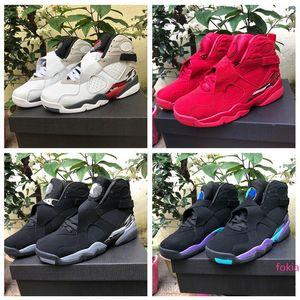 2019 Jumpman 8 VIII Three Peat Chrome Aqua University Red Men Basketball Shoes Top quality for Men's 8s Black Purple Sports Sneakers