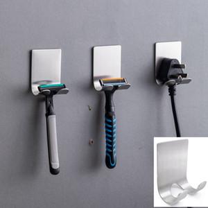 Aço inoxidável Navalha Titular de armazenamento Gancho Men Shaving Shaver prateleira de parede adesivo gancho Início Bath Acessórios HHA1186