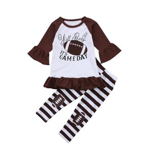2-7Y Toddler Kids Baby Girl Clothes Outfit Maniche lunghe Football Sport Top + Striping Legging Pantaloni Abbigliamento Flare Set carino
