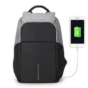 RM multifunción de carga USB de los hombres 15 pulgadas mochilas para portátiles de moda para hombre Mochila Mochila de viaje anti ladrón