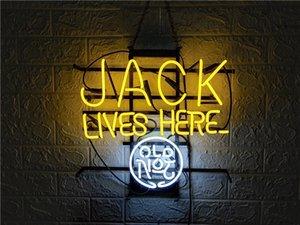 """JACK ao vivo aqui coustom NEON SIGN ARTESANATO CERVEJA CLARA BAR PUB de vidro real TUBE LOGO SINAIS DE PUBLICIDADE EXIBIÇÃO NEON 17 """"/ 19"""" / 24 ''"""