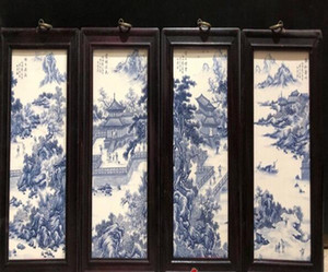 도자기 접시 중국 스타일의 도자기 접시 그림 네 개의 화면 단단한 나무 현대 거실 장식 그림 매달려 화면을 그림