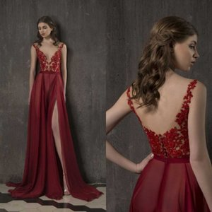 2019Sexy Red Evening Dresses V Neck Illusion High Split Chiffon Sweep Train Formal Party Prom Gowns Vestidos De Fiesta