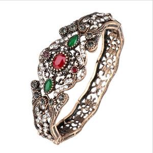 joyería de las pulseras de Bohimian grandes pulseras antiguos de cristal de pavo para las mujeres brazaletes étnicos clásicos de la moda caliente