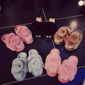 2019 new arrival indoor women's home winter hare animal fur shoes women guest slippers chinelo Y200706