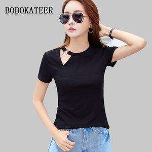 BOBOKATEER donne maglietta del cotone maglietta le cime della spalla per le donne magliette estate 2019 tee shirt femme haut camiseta mujer