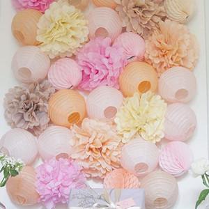 15pcs partido 4,6,8 pulgadas 10cm 15cm 20cm papel del tejido de pompones de papel bola de las flores de la boda pompón cumpleaños decoración Partes T191029