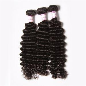50% Remise 7a Fabuleux cheveux remy malaisien vague profonde Extensions de cheveux humains malaisiens 3pcs lots Bundles cheveux malaisiens profondes Weaves Wavy