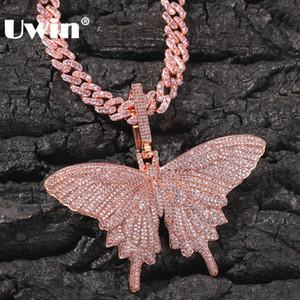 UWIN Hiphop Rose Borboleta do ouro Colares do rosa cubana Chain Link para as mulheres para fora congelado Cubic Zircon Moda Jóias