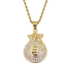 Hip hop Bolsa de dinero Euro diamantes collares colgantes para hombres collar de oro de lujo Acero inoxidable Rhinestone cadena cubana joyería de moda
