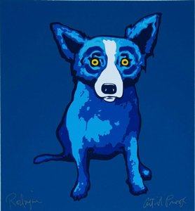 A059 # George Rodrigue Blue Dog Lil Home Decor Artisanats / huile d'impression HD Peinture Sur Toile Wall Art Toile Photos 200113