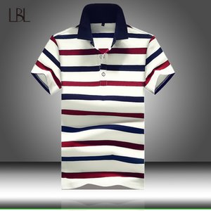Men Polo Shirt Summer Mens Business Casual Tops Men's White Striped Short Sleeve Polo Shirt Male Work Clothing Collar Polos T200530