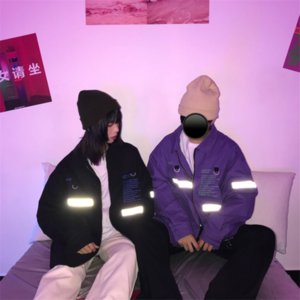 Kore-Style Ulzzang Sonbahar Yeni Sokak Retro Yansıtan Ceket Yazı Gevşek-Fit-Çift Eşleştirme Top Zip-up