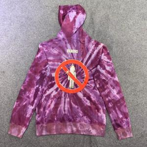 20FW нового топ фиолетового Tie Dye Hoodie Женщина Мужчины Свитер мужской