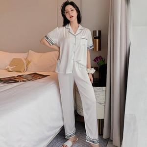 Lüks Karikatür Baskı Pijama Takım Elbise Buz İpek Pijama Kadınlar Kısa Kollu Pantolon Pijama Ailesi Pijama Gril Casual Ev Giyim Setleri