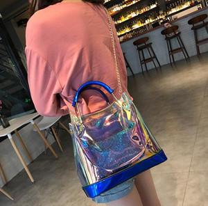 Borse di design- Moda trasparente PU donne composito Borse Hologram Laser colorato Borsa per ragazze Borse a tracolla piccola catena frizione