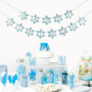 Glitter Blue Silver Snowflake Happy Birthday Bunting Banner Garland Winter Wonderland Decoraciones navideñas Fiesta de cumpleaños para niños