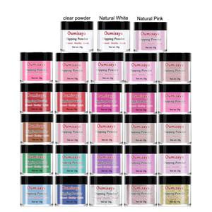 10gx28pcs establecen rosa / blanco / claro / brillo / Desnudos colores de uñas Oumisaya sistema de polvo de inmersión (No hay necesidad de luz de lámpara UV / LED Cure)