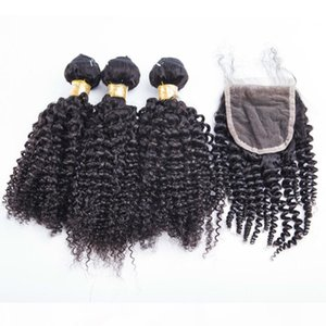 Hot sell kinky curly market human hair 3 bundles with one piece 4*4 lace closure one pack peruvian human hair weaves with closure