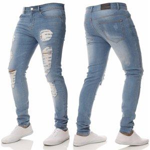Nuevos Jeans Blue Mens Spring Summer Hiphop Designer Street Denim Biker Drapeed Bordado Ripped Jeans Gkmah