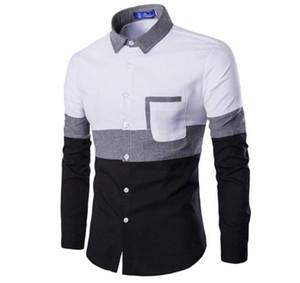 Camisas para hombre cuello para hombre de manga larga de la solapa de las camisas sport primavera flaco adolescente de la manera camisas del diseñador del remiendo del color