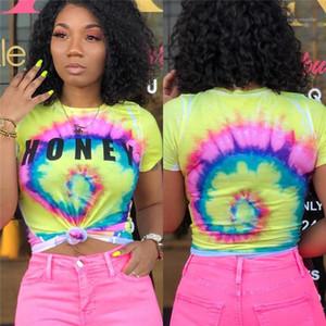 Mulheres Verão Sexy Tees Colorful Designer Skinny mulheres Camisetas 3D Imprimir manga curta Tops Moda