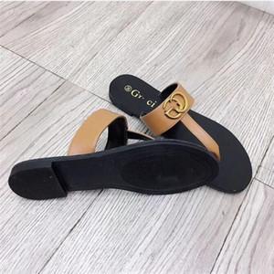 2 GUCCI Pantoffeln Sommer High-End-Schuhe der Frauen Strand Flip-Flops Pantoffeln Designer flachen Sandalen Metallschnalle Leder flache Hausschuhe Königin 45
