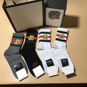 2019 Moda üst tasarımcı Klasik çorap marka işlemeli güzel arı kurt kaplan kafası elastik cutton erkekler çorap 4 pairs orijinal kutusu