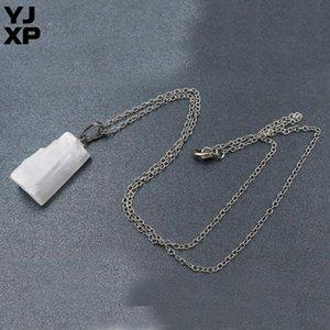 YJXP Natural Raw Stone Pendant Necklace For Women Men Irregular Column Gypsum Selenite Stick Wands Creative Charms Jewelry