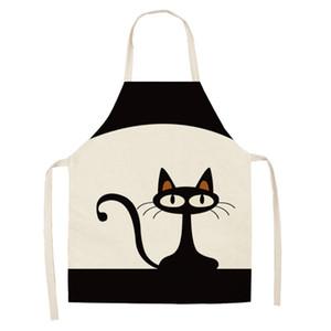 55 * 68cm Motif de chat Tabliers de cuisine unisexe de dîner de cuisine drôle Bibs Pinafore Outils de nettoyage de coton Tablier Linge