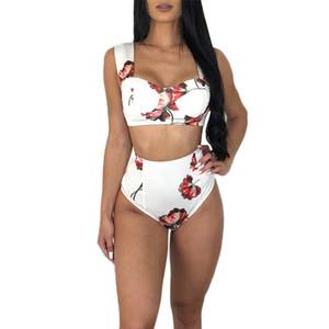 Bikinis Maillot De Bain Plus La Taille Maillots De Bain Femmes 2019 Push Up Bather Suit Sports de Plein Air Deux Pièces De Bain À Volants À Taille Haute