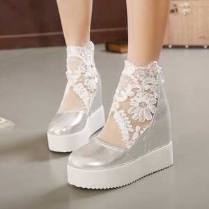 Goddess2019 Slope Wedge Women Lace Screen Muffin Base gruesa con zapatos de mujer