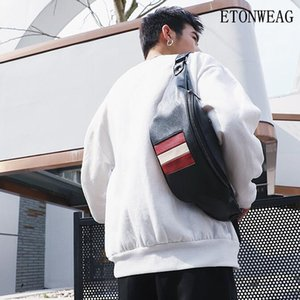 Factory wholesale men handbag new leather men and women lovers chest bag simple stripes men waist back riding bag casual leather messenger b