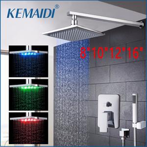"""vendita all'ingrosso 8"""" 10"""" 12"""" 16"""" Nuovo LED RainfallWaterfall bagno bagno doccia Wall Panel Mounted Messaggio doccia con mano Spray"""